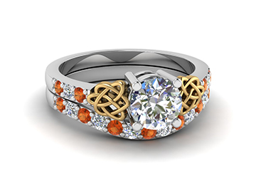 Orange Sapphire Engagement Rings