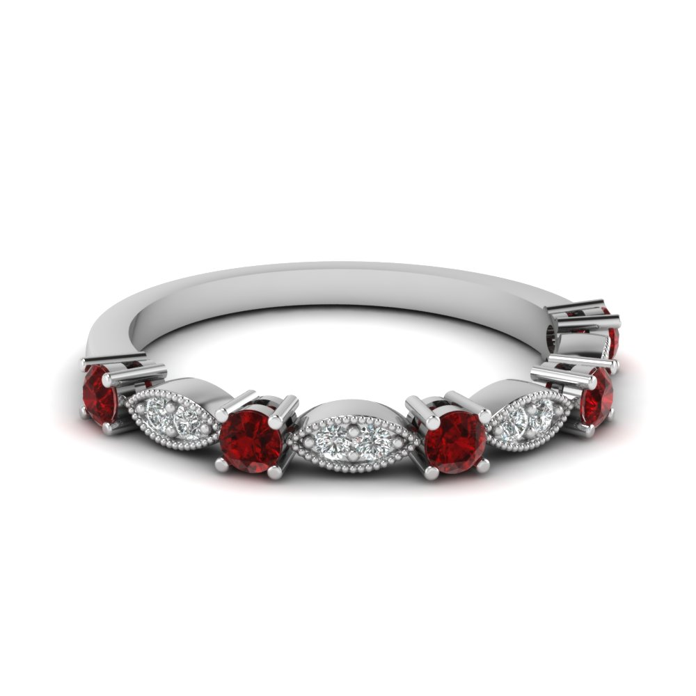 Wedding jewelry our elegant wedding bands rings for Ruby wedding band rings
