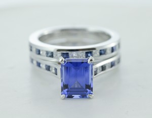 Emerald Cut Diamond Wedding Sets With Blue Sapphire In White Gold