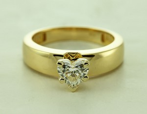 Gold Heart Diamond Solitaire Ring