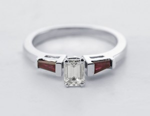 Emerald And Baguette Cut 3 Diamond Engagement Ring in 14k White Gold