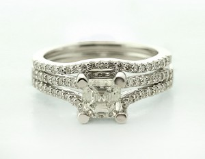 Split Asscher Cut Engagement Ring With Curved Band in 14K White Gold