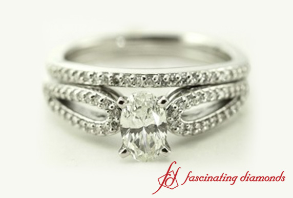 Loop Split Oval Diamond Ring Set