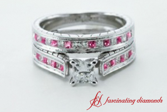 Princess Cut Wedding Set With Pink Sapphire In 18K White Gold