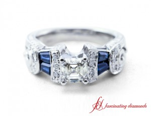 Asscher Cut Diamond And Baguette Sapphire Ring