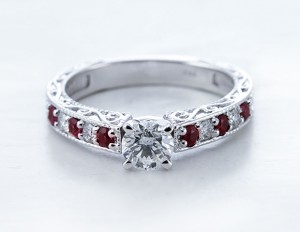 Milgrain Diamond Ring With Ruby Accents