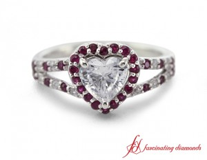 Halo Diamond And Ruby Ring