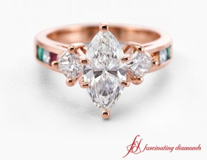 Pink Gold Marquise Diamond Ring