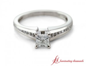 Princess Cut And Round Diamond Ring In 18K White Gold