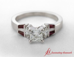 Gold Asscher Diamond And Ruby Ring