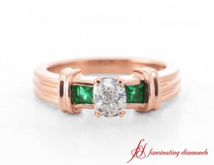 Rose Gold Emerald Three Stone Ring