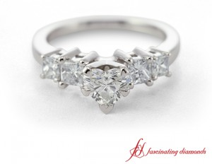 Heart Shaped And Princess Cut Diamond Engagement Ring