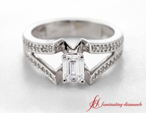 Pave Diamond Split Shank Ring