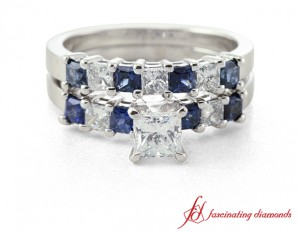princess cut diamond wedding ring set with blue sapphire in 14k white gold - Blue Sapphire Wedding Ring Sets