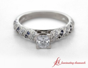 Rope Design Diamond And Sapphire Ring
