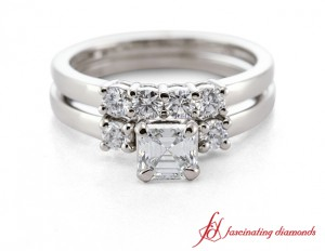 Asscher Cut Three Stone Diamond Wedding Set