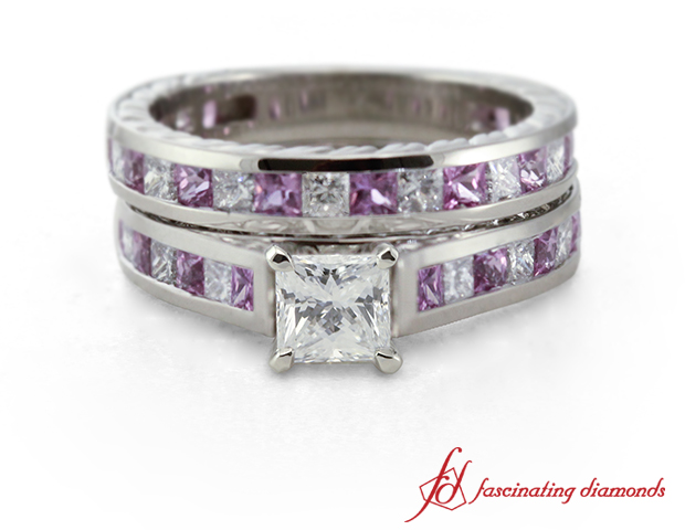 Princess cut diamond wedding ring set with pink sapphire for Princess cut pink diamond wedding rings