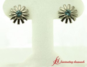 Blue Topaz Womens Stud Earrings White Gold