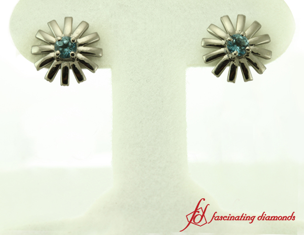 Ice Blue Topaz Stud Earrings