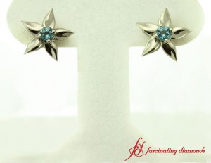 Flower Inspired Blue Topaz Earrings For Women