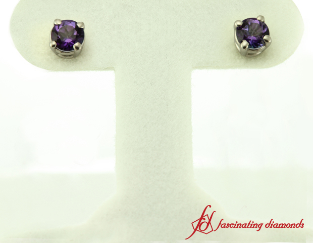 Round Violet Topaz Stud Earrings