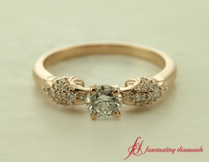 Round Cut Diamond Ring Pink Gold