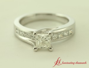 Princess Cut Diamond Side Stone Engagement Ring