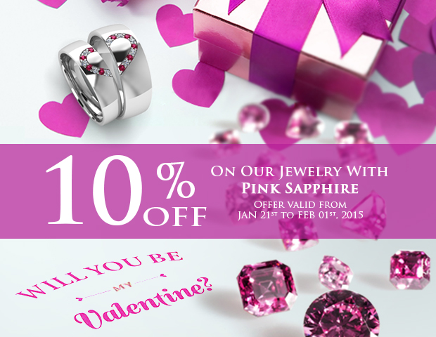 10 Percent Off On Our Jewelry With Pink Sapphire