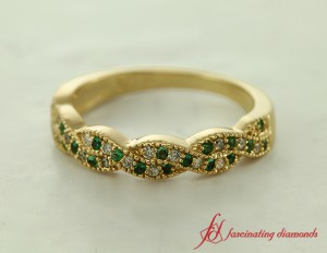 Yellow Gold Twisted Wedding Band For Her