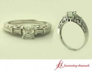 Art Deco Asscher Three Stone Diamond Ring