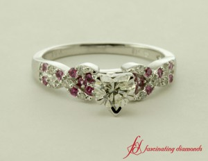 Heart Shaped Diamond And Pink Sapphire Side Stone Ring