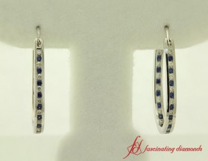 Womens Sapphire Hoop Earrings With Diamonds