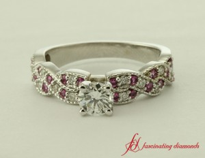 Diamond And Pink Sapphire Twist Ring