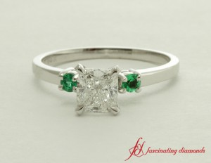 White Gold Emerald Three Stone Ring