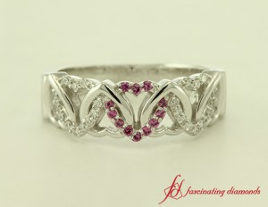 Modern Pink Sapphire Womens Wedding Band