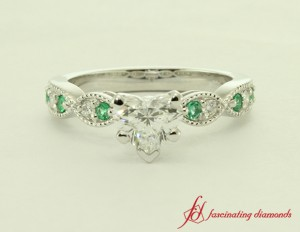 White Gold Milgrain Emerald Ring