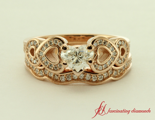 Heart Shaped Rose Gold Wedding Set