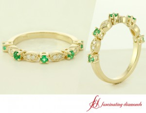 Diamond And Green Emerald Wedding Band