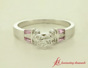 Pink Sapphire And Baguette Diamond Ring
