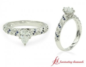 Pear Shaped Diamond And Sapphire Ring