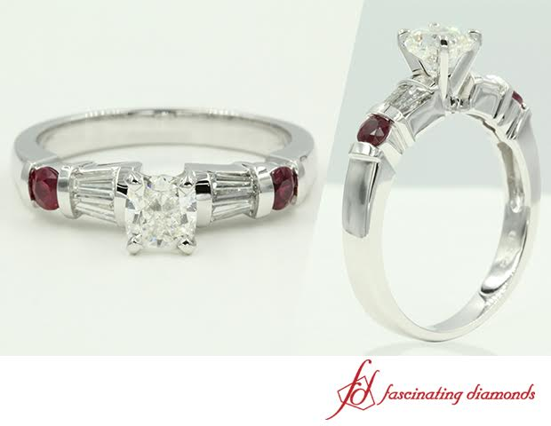 Cushion Cut Diamond Ring With Side Stones