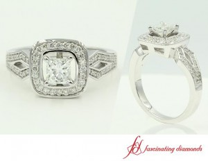 White Gold Halo Split Shank Engagement Ring