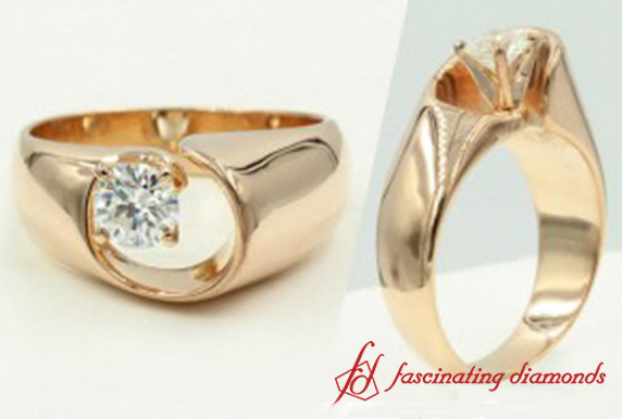 Rose Gold Swirl Diamond Solitaire Ring