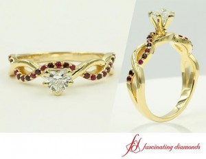Twist Style Heart Diamond Ruby Ring