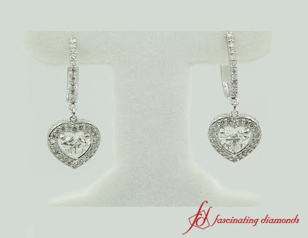 Round And Heart Shaped Diamond Drop Earrings