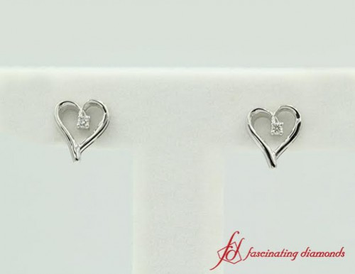 White Gold Metal Heart Stud Earrings For Her