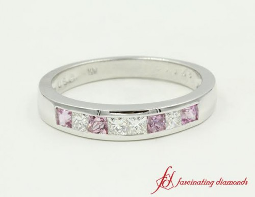 Princess Cut Sapphire and Diamond Band