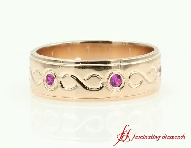 Pink Sapphire Mens Wedding Band In 14k Rose Gold