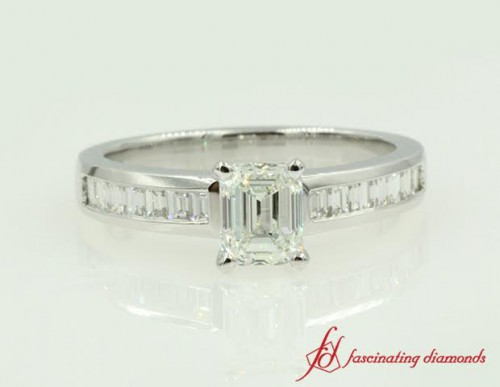 Emerald Cut Diamond Ring With Baguette