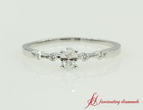 Shoulder Set Engagement Ring White Gold